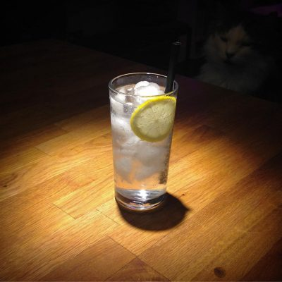 Late night G&T: gin, tonic and ice.