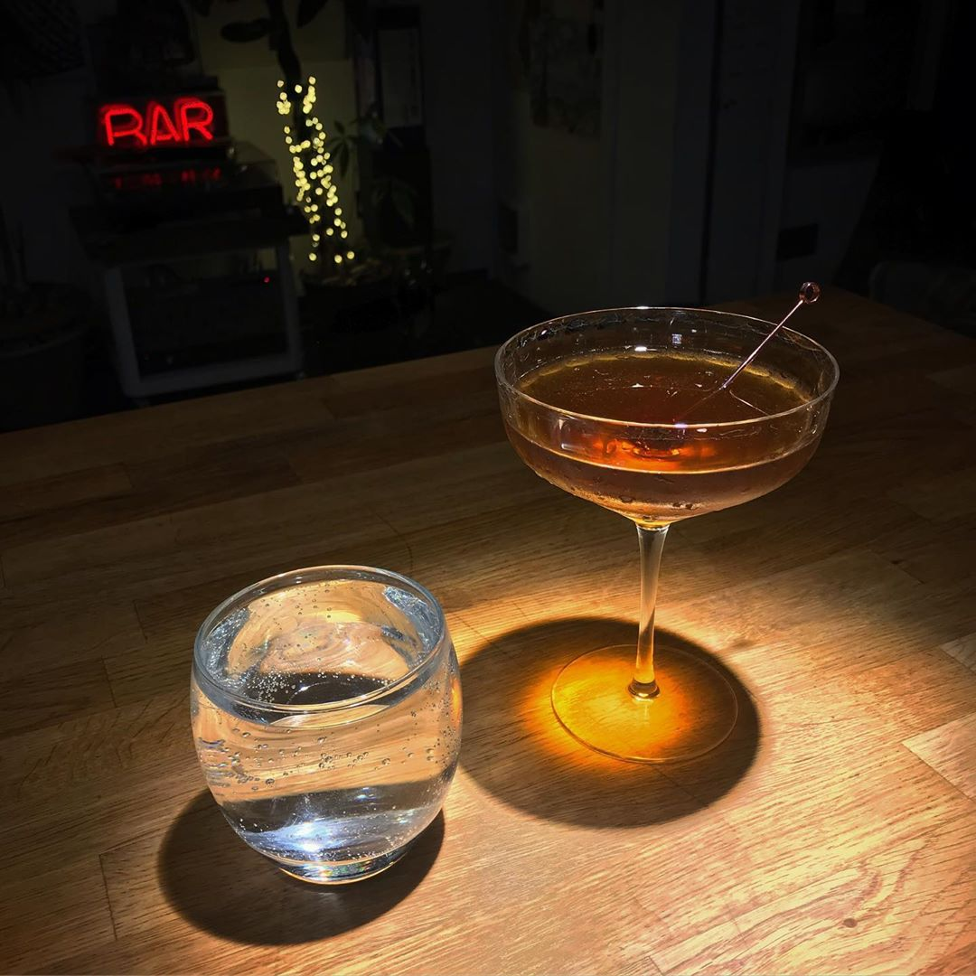 The Lana Del Rey is essentially a classic Manhattan, but with a dash of Branca Menta, and twinned with a side of soda water. It should only be drunk at night, and on your way home
