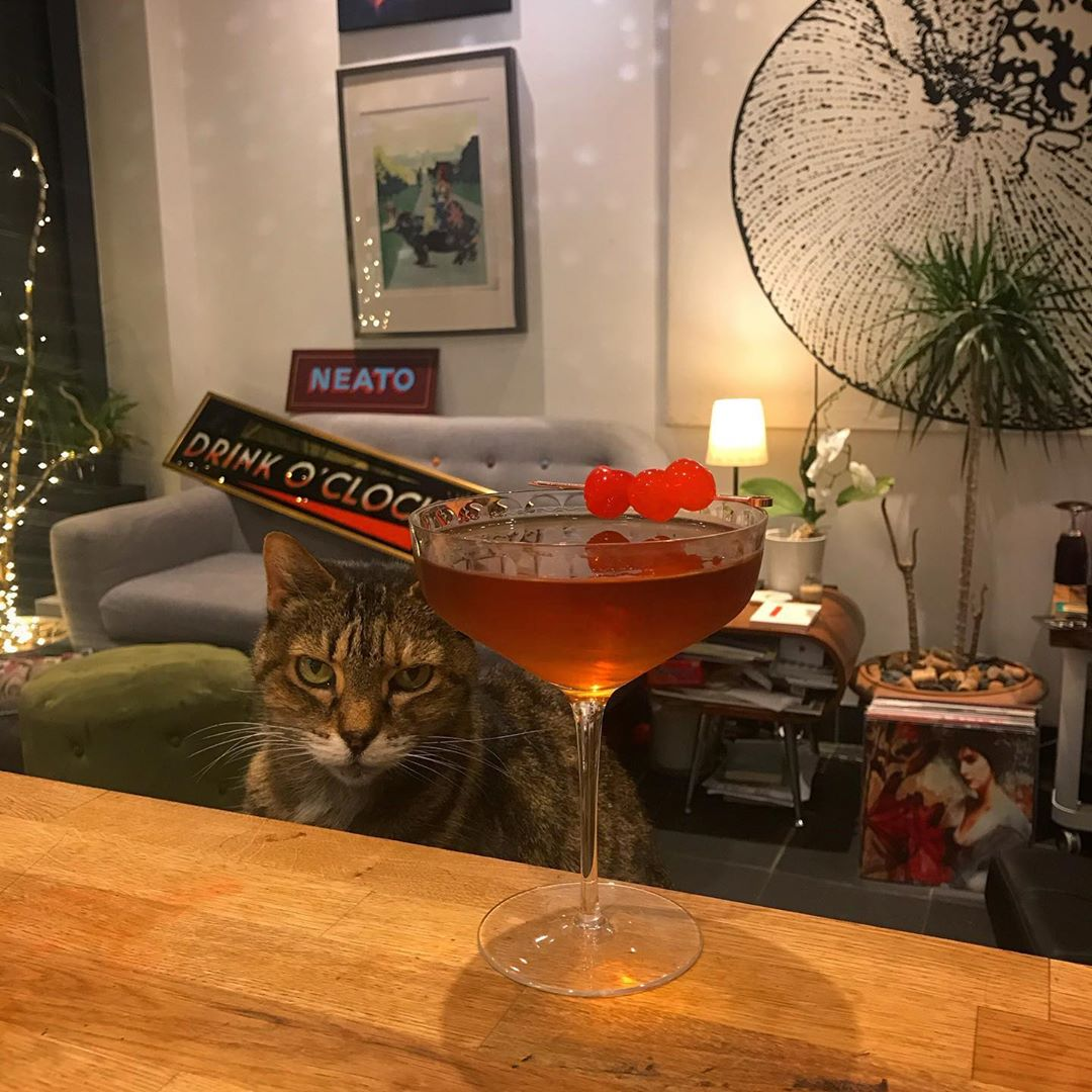 "I found a new cocktail right up my street, it's called La Louisiane but I've tweaked it a bit. Search for ""its drink ockock"" for more""."